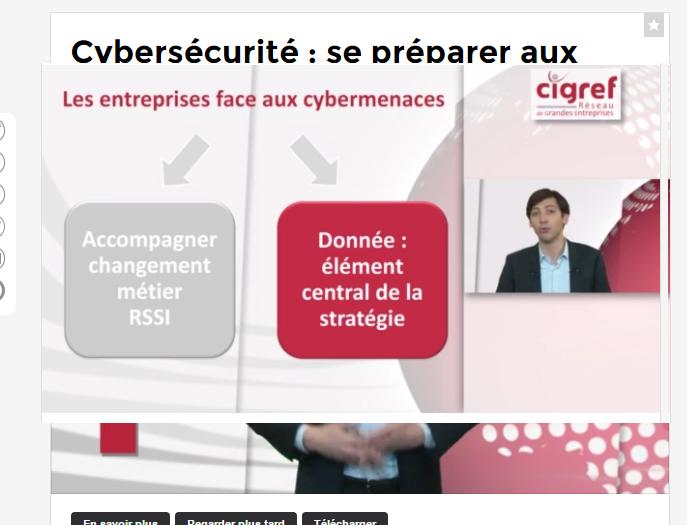 CIGREF TV : cybersécurité : se préparer aux nouvelles menaces